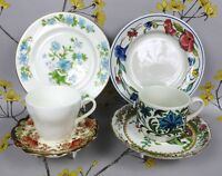 Vintage China Mix And Match Mismatched Tea Cup Saucer Plate Trio x 2. Pair. Good