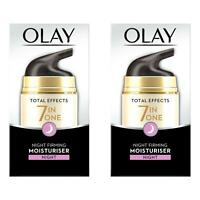 2 Olay Total Effects Night Cream Moisturiser 7-In-1 AntiAgeing FirmingCream 50ml