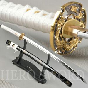 Handmade Full Tang T1095 steel Japanese Samurai Sword Gold Dragon Katana Sharp