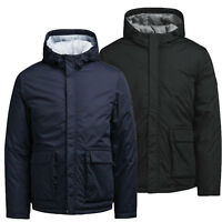 Mens New Puffer Jacket Hooded Padded Jack & Jones Regular Fit Black Navy