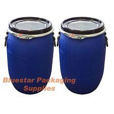 2 X 60l Litre Ltr Open Top Plastic Storage Drum Barrel Keg With Lid *