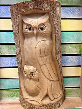30cm Hand Carved Wood Tree Log stump Mum Baby Owl Hand Made Carving Ornament