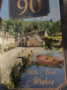 Male 90th birthday card by goldline full colour insert