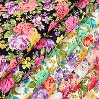 Cotton Fabric per Fat Quarters Colourful Flower Retro Dress Quilting Crafts VK60