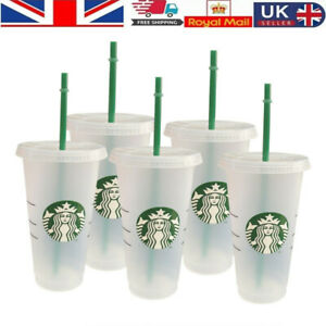 Starbucks Logo Reusable Plastic Cold Cup with Lid Straw, 24 fl oz -- UK 2021~~
