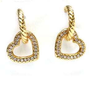 DAVID YURMAN NEW 18K Yellow Gold & Diamond Heart Drop Earrings