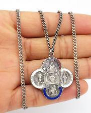 925 Sterling Silver - Vintage Antique Enamel Catholic Chain Necklace - N2612