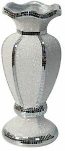 40cm Tall Glitz Vase Mosaic Tiled Mirrored Finish Decorative Flower Vase White