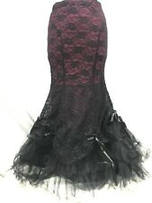 Raven Gothic Victorian Black Laced Over Maroon Skirt Black Tula Net SM / 10/12