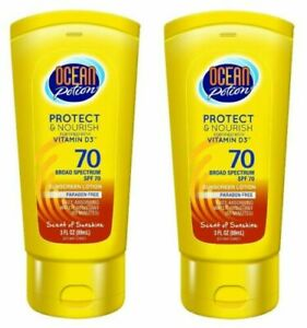 2 Ocean Potion Protect and Nourith Scent of Sunshine Sunscreen SPF 70 Exp 8/20