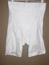 Glamorise white striped undie panty stretch shaper brief long leg girdle-L
