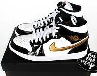 Nike Air Jordan 1 Retro Mid SE Black White Gold Patent UK 5 7 8 10 11 US New