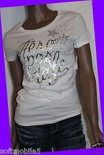 Aeropostale Girls Womens Graphic WHITE Tee T-Shirt SHINEY Top MEDIUM M