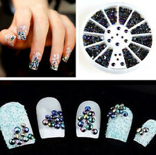 NEW 3D Nail Art Tips Crystal Glitter Rhinestone Pearl Decoration+Wheel Decor