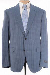 Pal Zileri NWT Sport Coat Size 44R In Light Blue Small Plaid Wool $1,195