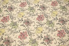 """100% Cotton Upholstery Drapery Art Deco Red Scribbled Floral Print Fabric 55"""""""