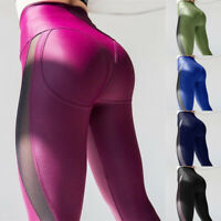 Women Mesh Leggings High Waist Quick Drying Gym Sports Running Slim Yoga Pants