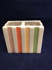 Striped Toothbrush Holder by Target Orange Green Yellow Blue Brown NWT Ceramic