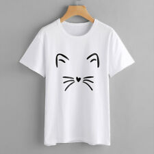 Fashion Womens Casual Short Sleeve O-neck Cat Printed Causal Blouse Tops T-shirt Grey L