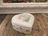 Heart Shaped Trinket Jewelry Box Porcelain Flowers  Floral Gift Ring Valentine