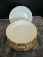 ANTIQUE LIMOGES BAWO & DOTTER ELITE WORKS WHITE GOLD BAND 12 LUNCHEON PLATE