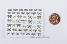 50+ Gold Silver Glitter BOWS 3D Nail Art Stickers DecalsTransfers Decoration
