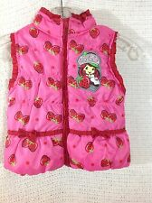 Strawberry Shortcake Puffer Vest 3T Pink Red Glitter Polyester Zip EUC