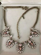 Jewelmint Pink Rhinestone and Rhinestone Statement Leaves necklace