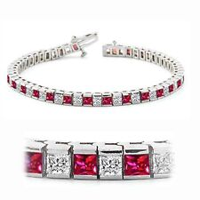 4.53 Cts Princess Cut Natural Diamonds Ruby Tennis Bracelet In Hallmark 14K Gold