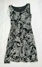Perceptions New York Women's Black & White Paisley Sleeveless Dress, Medium