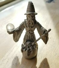 Wizard with cauldrin and globe - pewter art