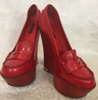 Louis Vuitton Double Platform Pump Red Leather Wood Heel Size 39