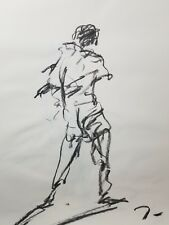 """JOSE TRUJILLO Original Charcoal on Paper Sketch Drawing 24"""" FIGURE COLLECTIBLE"""