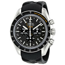 Omega Speedmaster Black Carbon Fibre Dial Chonograph GMT Rubber Mens Watch