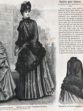 MODE ILLUSTREE SEWING PATTERN April 5,1885 - Redingote, robe lainage, mantelet,