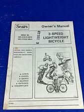 Vintage Sears, Roebuck & Co. 3-Speed Lightweight Bicycle Owners Manual F7052