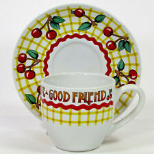 Mary Engelbreit Good Friend 7oz Cup & Saucer Set Time For Tea Yellow Red Cherry