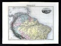 1880 Migeon Map - South America - Brazil Colombia Peru Venezuela Ecuador Amazon