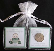 A PERSONALISED LUCKY SIXPENCE CHRISTENING NAMING DAY BABY BOY GIRL UNIQUE GIFT