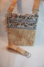Handcrafted Crossbody Bag  Footprints in the sand with pebbles theme  Adj Strap