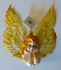 Christopher Radko 1997 Angel On High.Bust with Golden Paper Wings