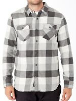 VANS (BOX FLANNEL) MARSHMALLOW FROST GRAY PLAID FLANNEL MENS SZ LARGE L NWT NEW