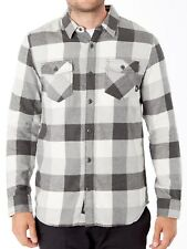 VANS (BOX FLANNEL) MARSHMALLOW FROST GRAY PLAID FLANNEL MENS SZ MEDIUM M NWT