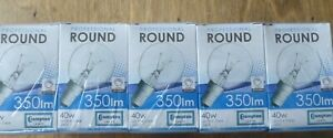 10 pack Crompton Light Bulb Round 40w SES- E14 Clear Glass Warm White.