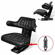 vidaXL Tractor Seat with Suspension Black Forklift Comfortable Backrest Chair