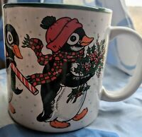 Holiday Penguin Mug Potpourri Press made in Japan 10 oz white and green