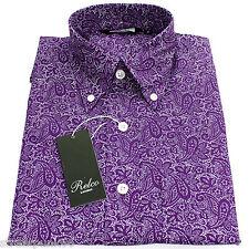 Relco Mens Paisley Print Long Sleeved Button Down Collar Shirt Vintage Retro Mod Purple L