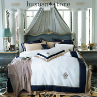 Luxury Egypt Cotton Blue Classics Bedding Set Embroidery Silky Duvet Cover Sets
