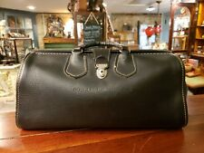 Vintage Black Leather Monogrammed Doctor's Bag