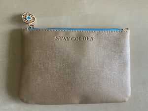 New! Ipsy Glam Bag July 2021 Makeup Zip Case - Stay Golden / Gold & Light Blue